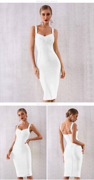 Yellow Sweetheart Cocktail Bandage Midi  Dress - Available more colors
