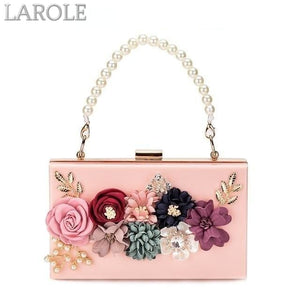 Acrylic Chain Strap Evening Flower Clutches  Purse