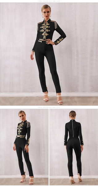 Black Long Sleeves Top &Pants 2 Two Pieces Set