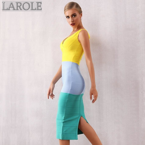 V Neck Sleeveless Colorblock Tank Evening Dress