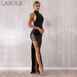 Side Slit  Sexy Sleeveless Halter Hollow Out Black Maxi Dress