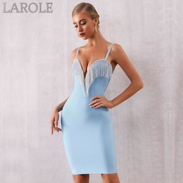 Blue Tassels Spaghetti Strap Bodycon Midi Dress