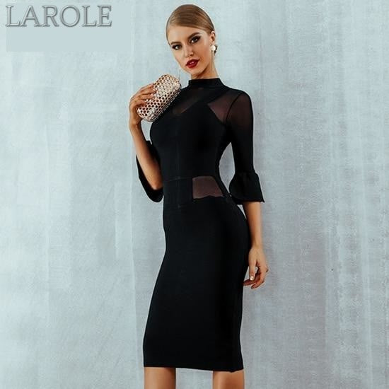 Flare Sleeve  Elegant Celebrity Evening Black Dress