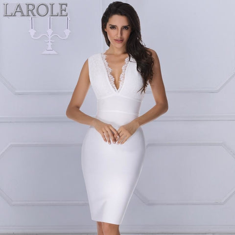 V-neck Backless Luxury White Cocktail Party Dresses