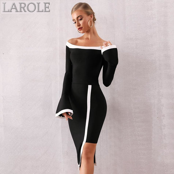 Black Long Sleeves Off Shoulder  Evening Dresses