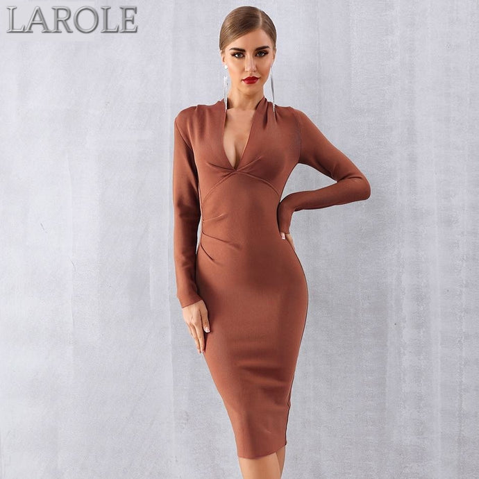 Sexy Long Sleeve Deep V Bodycon Midi Dress