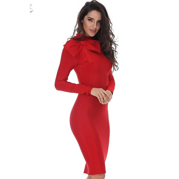 Long Sleeve High Neck Red Bow Midi BandageDresses