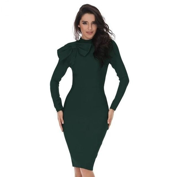 Long Sleeve High Neck Green Bow Midi BandageDresses