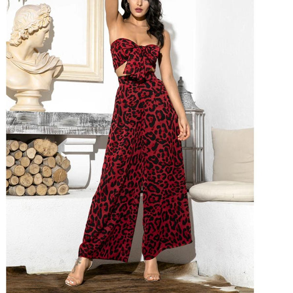 Two-Pieces Leopard Chiffon High Waist Sets