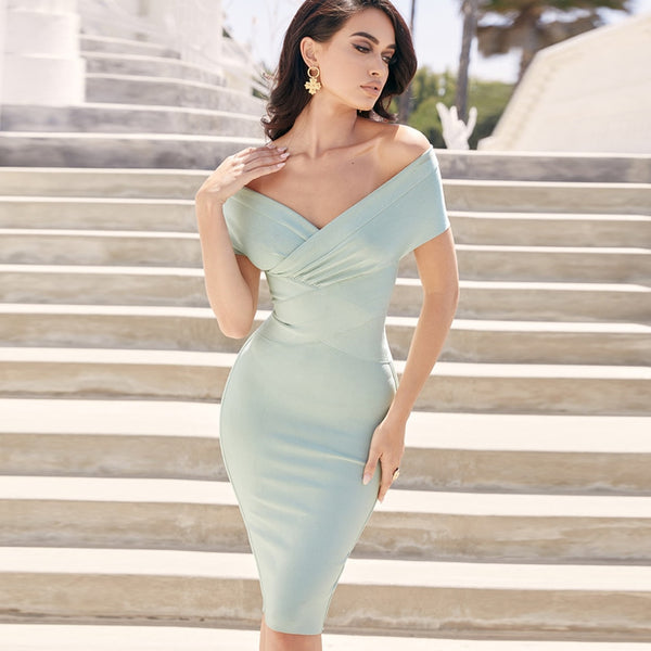 Green Off Shoulder Short Sleeves Midi Bodycon Bandage Dress