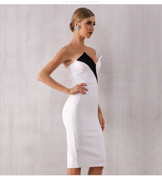 Sleeveless White Black V Neck Elegant Cocktail Dress