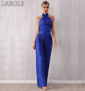 Blue Sleeveless Halter Jumpsuits