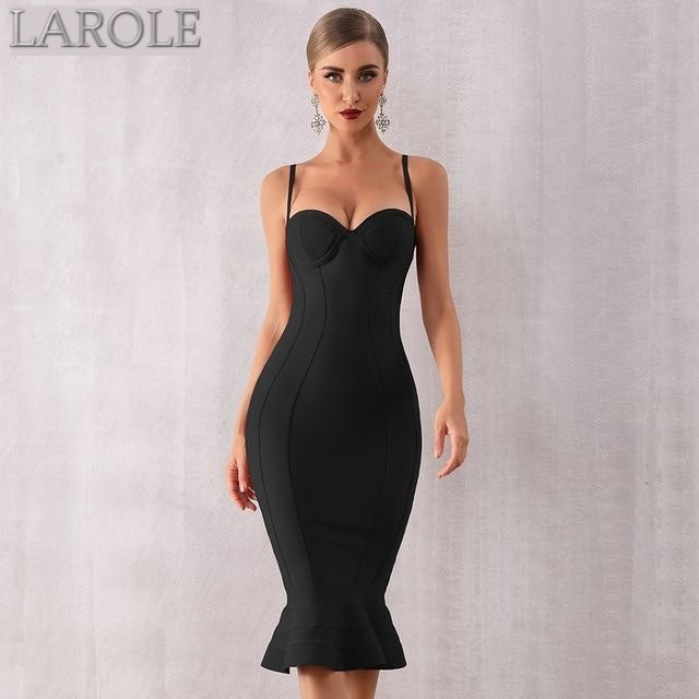 Black  Spaghetti Strap Sleeveless Mermaid Midi Celebrity Party Dress