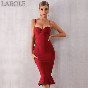 Red Spaghetti Strap Sleeveless Mermaid Midi Celebrity Party Dress