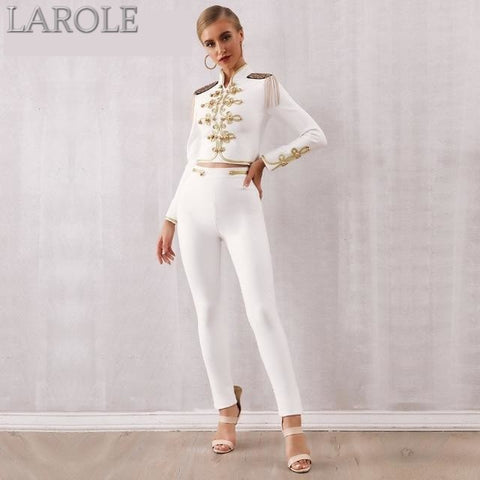 White Long Sleeves Top &Pants 2 Two Pieces Set