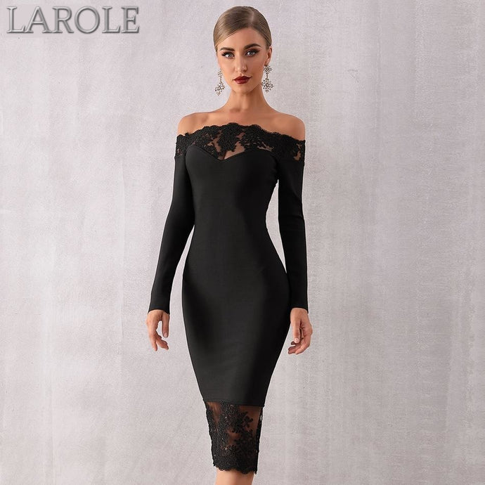 Elegant Off Shoulder Lace Bodycon Midi  Dress - Available in more colors