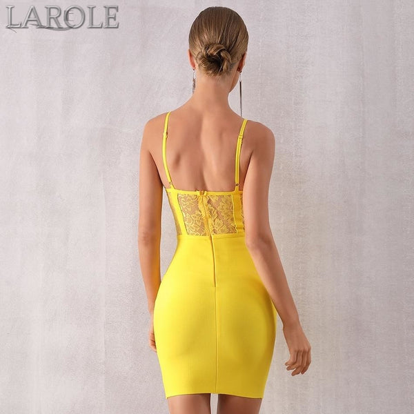 Yellow Sleeveless Spaghetti Strap Mini  Evening Party Dress