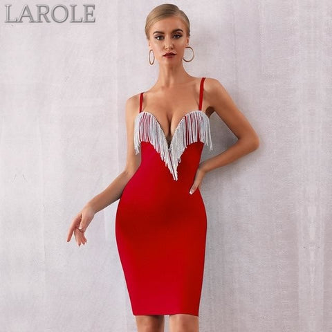 Red Tassels Spaghetti Strap Bodycon Midi Dress