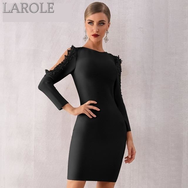 Black Long Sleeve Bodycon cocktail dress