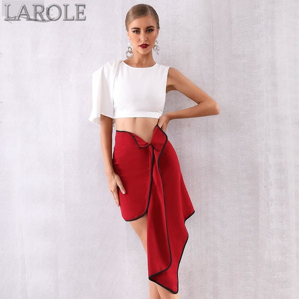 O Neck 2 Two Pieces Set Ruffles Short Sleeve White Top Plus Red Skirt