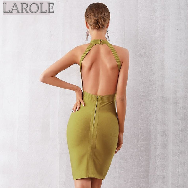 Halter Backless Sleeveless Midi Bodycon Dress