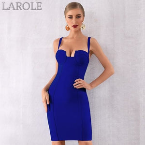 Bustier Royal Blue Spaghetti Strap  Midi Celebrity Evening Party Dresses