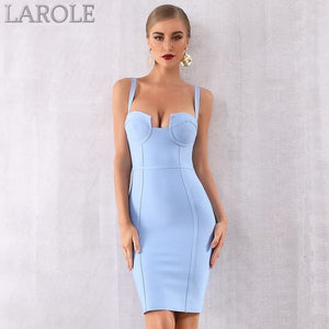 Bustier Light Blue Spaghetti Strap  Midi Celebrity Evening Party Dresses