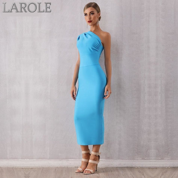 One Shoulder Sleeveless Sky Blue Bodycon Midi Bandage Dress