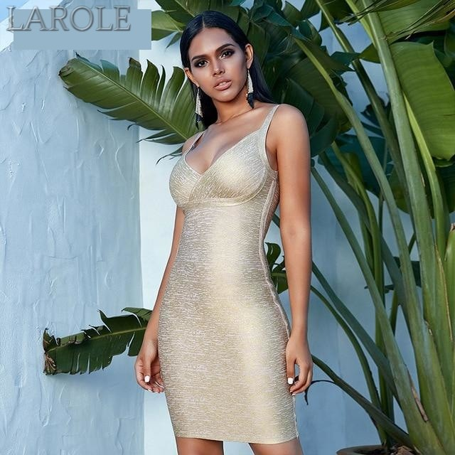 Elegant  V Neck Spaghetti Strap Gold Party Dress