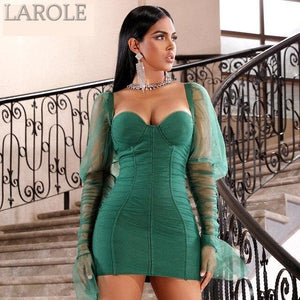 Green Long Sleeve Mini Party Dress