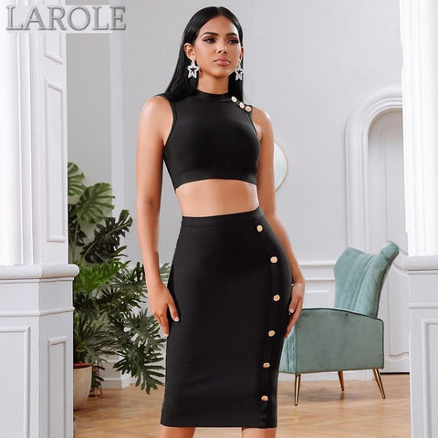 2 Pieces Sleeveless Crop Top & Pencil Skirt Evening Party Sets