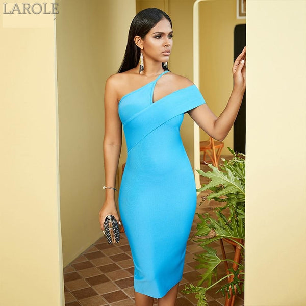 One Shoulder Sky Blue  Midi Bandage Dress
