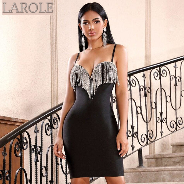 Black Tassels Spaghetti Strap Bodycon Midi Dress