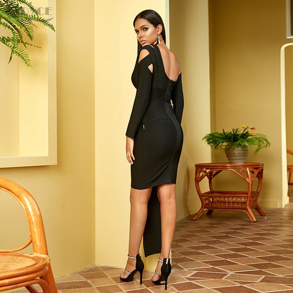 Long Sleeve Off The Shoulder Mini Little Black Evening Party Dress
