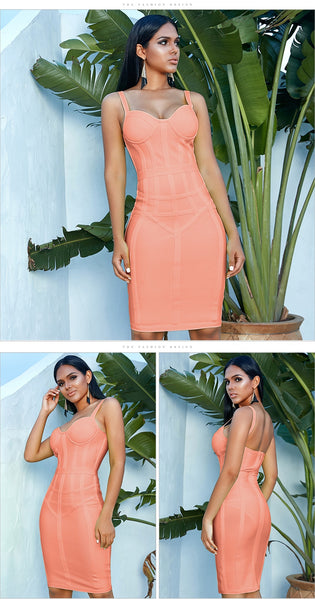 Green Orange Sexy Spaghetti Strap Sleeveless Midi Bandage Party Dress