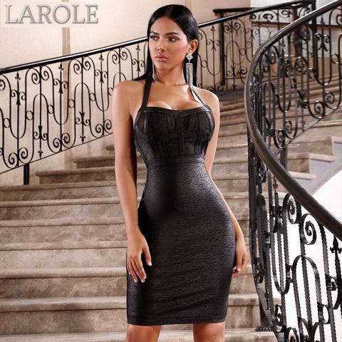 Black Halter Backless Bodycon Club Dress Midi Party Dress