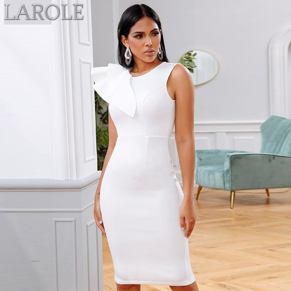 White Ruffles Sleeves Midi Bodycon Dress