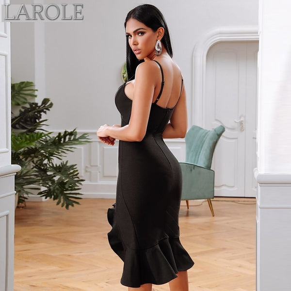 Black Spaghetti Strap Side Split  Midi  Evening Party Dress