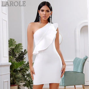 Sexy One Shoulder Ruffles White Bodycon Dress