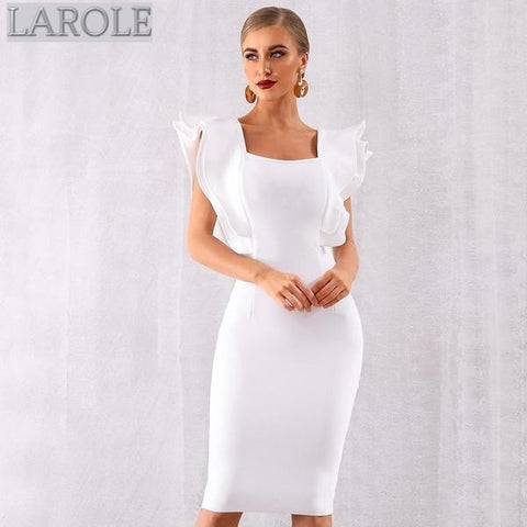 White Ruffles Butterfly Sleeve Bodycon Midi Dress