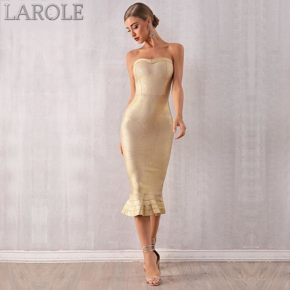 Gold  Strapless Mermaid Runway Evening Dress