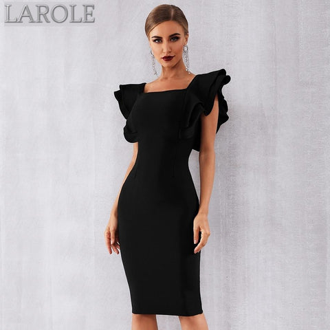 Black Ruffles Butterfly Sleeve Bodycon Midi Dress
