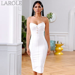 Black Sleeveless Strapless Bustier Midi Dress