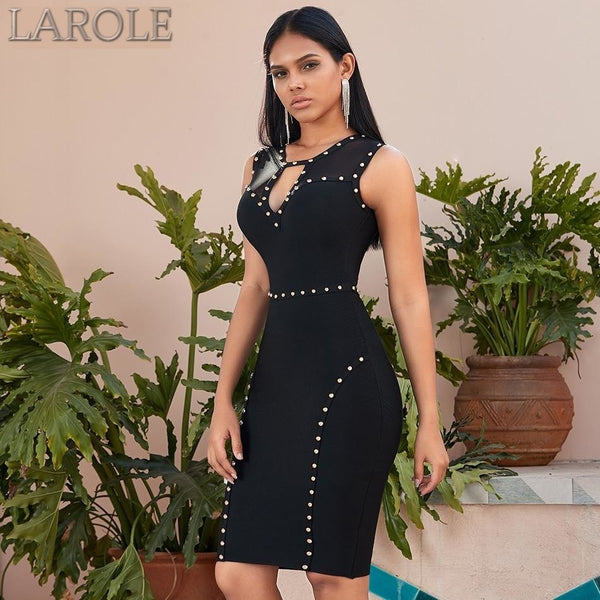Sleeveless Hollow Out Studded Black Lace Evening Party Dress