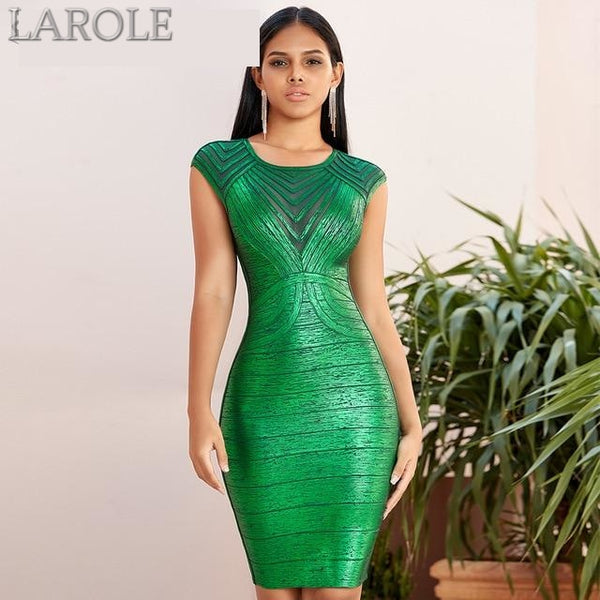 Short Sleeve Green Lace Bandage Evening Cocktail Dress
