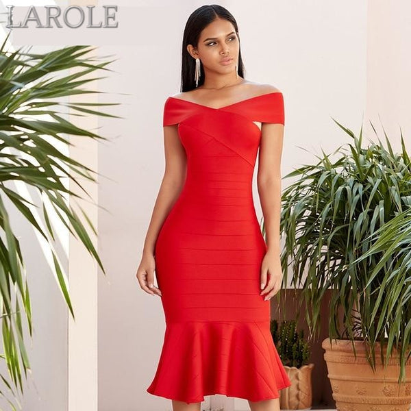 Red Short Sleeves Off The Shoulder Mermaid Style Midi Dresses