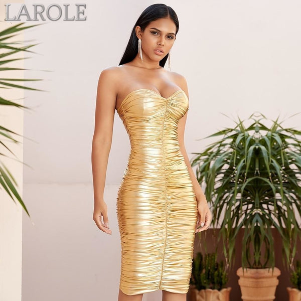 Gold Strapless Draped Midi Bodycon Evening  Dress