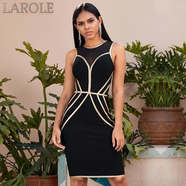 Black and Gold  Hollow Out Sleeveless Tank Midi Dress