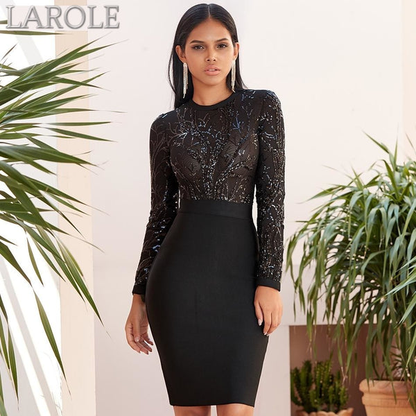 Black Sequin Hollow Out Long Sleeve Evening Party Dress