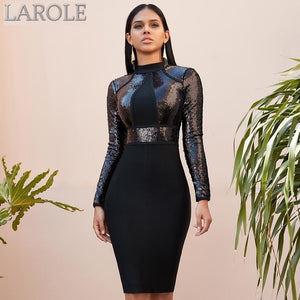 Black Sequined Long Sleeve Winter Bandage Dress